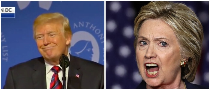 President Trump pokes fun at Hillary Clinton. Left: Fox News screenshot Right: Photo by Justin Sullivan/Getty Images