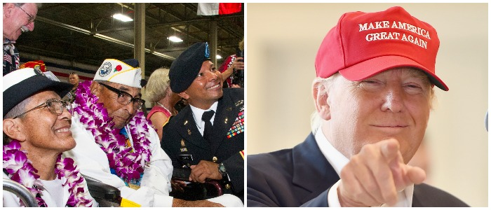 President Trump meets with WWII veteran Ray Chavez Left: Photo by Craig T. Kojima - Pool/Getty Images Right: Photo by Jeff J Mitchell/Getty Images