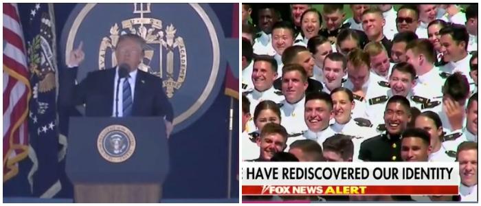 President Trump gives a speech at the Naval Academy. Fox News screenshots.