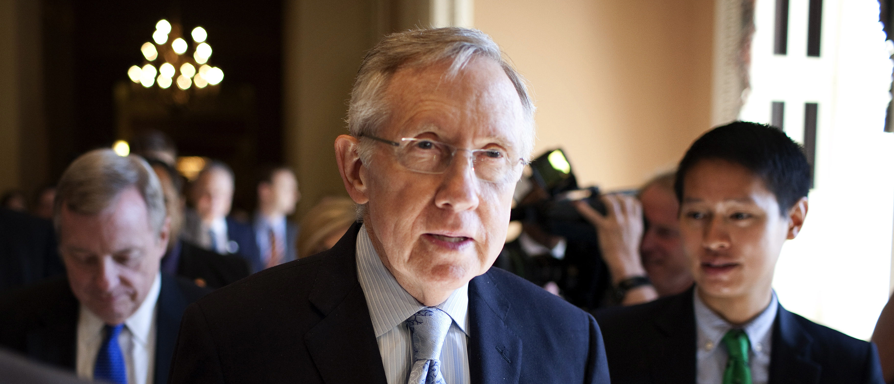 Senate Majority Leader Harry Reid (D-NV) speaks with reporters after meeting with House Democratic leadership on the debt ceiling crises on Capitol Hill in Washington July 31, 2011. U.S. lawmakers were close to a last-gasp $3 trillion deal on Sunday to raise the borrowing limit and assure financial markets that the United States will avoid a potentially catastrophic default. REUTERS/Joshua Roberts