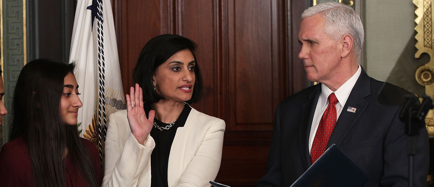 Seema Verma (4th L) participates in a swearing-in ceremony, officiated by U.S. Vice President Mike Pence (R), as her husband Sanjay (L), daughter Maya (3rd L) and son Shaan (2nd L) look on in the Vice President's ceremonial office at Eisenhower Executive Building March 14, 2017 in Washington, DC. (Photo: Alex Wong/Getty Images)