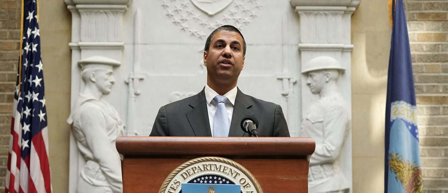"""WASHINGTON, DC - APRIL 18: Federal Communications Commission Chairman Ajit Pai speaks during a forum April 18, 2018 in Washington, DC. FCC Chairman Pai and U.S. Secretary of Agriculture Secretary Sonny Perdue participated in an Agriculture Department forum to discuss """"improving e-connectivity in rural America."""" (Photo by Alex Wong/Getty Images)"""