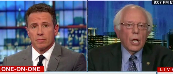 Chris Cuomo interviews Bernie Sanders. CNN screenshot.