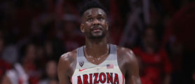 TUCSON, AZ - MARCH 03: Deandre Ayton #13 of the Arizona Wildcats walks up court during the second half of the college basketball game against the California Golden Bears at McKale Center on March 3, 2018 in Tucson, Arizona. The Wildcats defeated the Golden Bears 66-54 to win the PAC-12 Championship. (Photo by Christian Petersen/Getty Images)