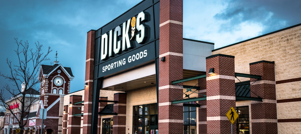 York, PA - December 30, 2016: Exterior of Dick's Sporting Goods retail store including sign and logo. (Shutterstock/George Sheldon)