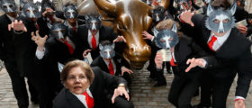 Nancy Pelosi and Wolves of Wall Street outside of the New York Stock Exchange on March 25, 2014 in New York City, Getty Images/ By Alex Wong and Jemal Countess