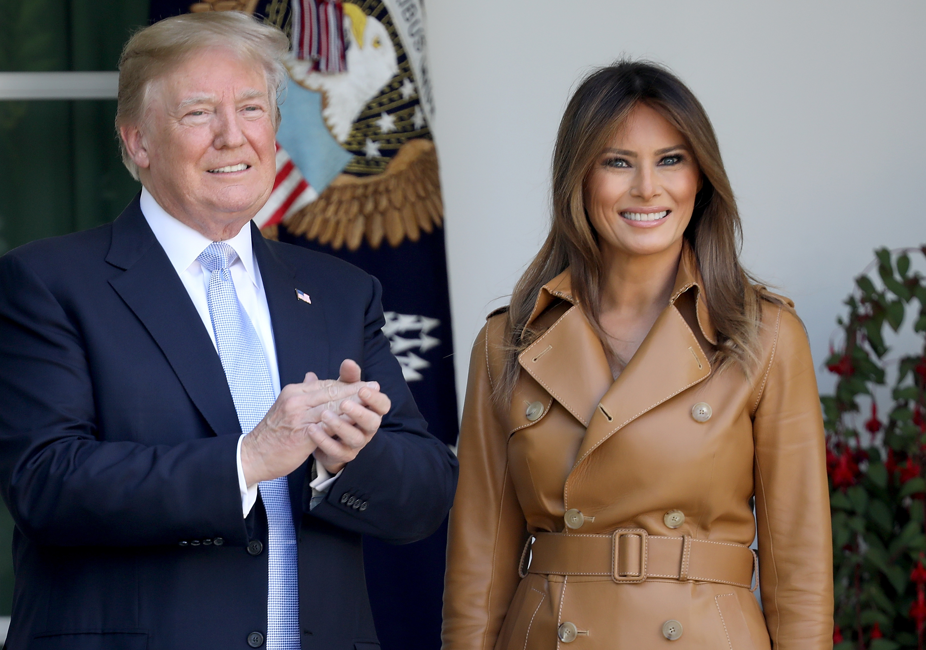WASHINGTON, DC - MAY 07: U.S. President Donald Trump applauds after U.S. first lady Melania Trump spoke in the Rose Garden of the White House May 7, 2018 in Washington, DC. Melania Trump outlined her new initiatives, known as the Be Best program, during the event. (Photo by Win McNamee/Getty Images)