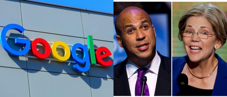 Left: Google office building [Shutterstock - Denis Linine] Right: U.S. Senator from New Jersey Cory Booker (L), U.S. Senator from Massachusetts Elizabeth Warren (R) [REUTERS/File Photo]