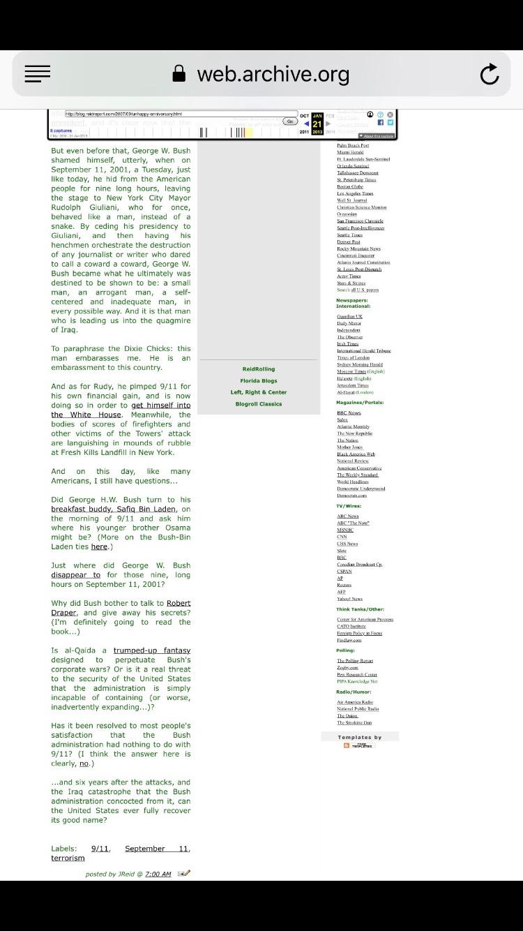 """Joy Reid's blog """"The Reid Report"""" screenshots."""
