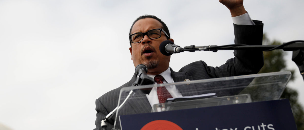 Rep. Keith Ellison, vice chair of the Democratic National Committee, speaks during a rally against the Republican tax bill on Capitol Hill in Washington, U.S., November 15, 2017. REUTERS/Aaron P. Bernstein