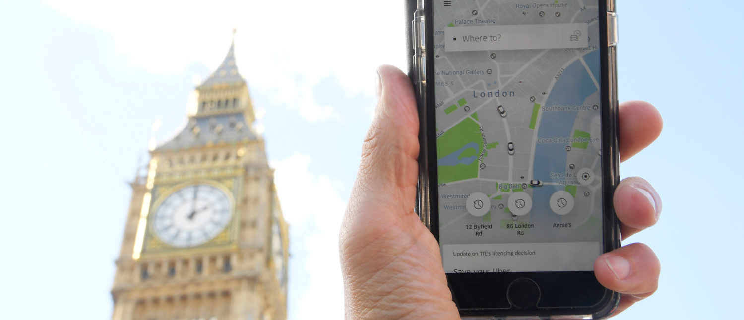 A photo shows the Uber app on a mobile telephone, as it is held up for a posed photograph in central London, Britain September 22, 2017. REUTERS/Toby Melville