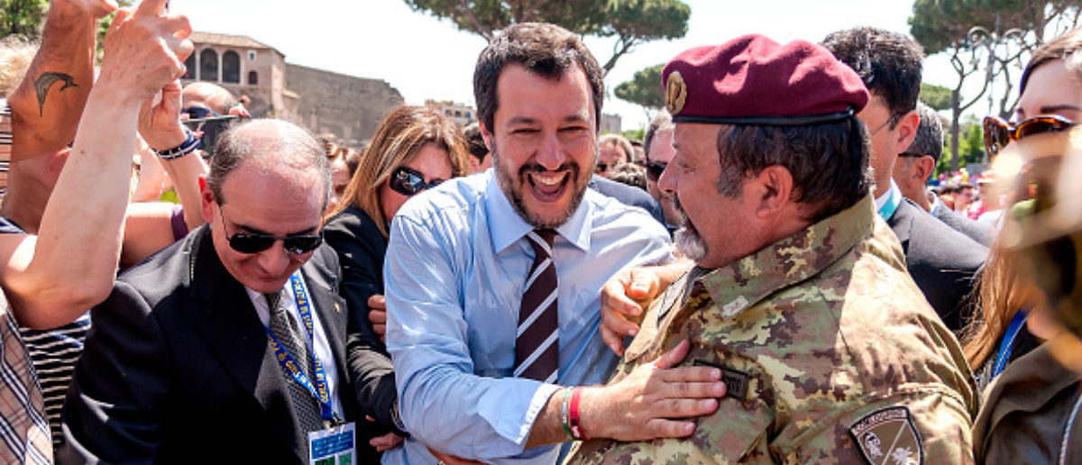 RROME, ITALY - JUNE 02: Italian Interior Minister Matteo Salvini at the end of the ceremony of the anniversary of the Italian Republic (Republic Day) on June 2, 2018 in Rome, Italy. (Photo by Stefano Montesi - Corbis/Getty Images)