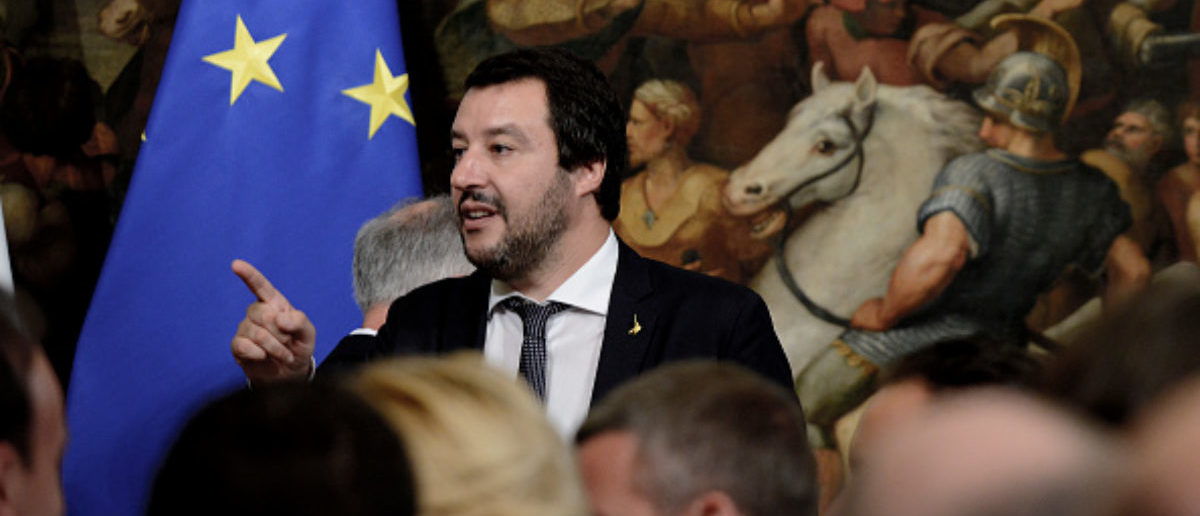 ROME, ITALY - JUNE 13: Matteo Salvini during the oath in Palazzo Chigi of the Vice Presidents and Subsecretaries, on June 13, 2018 in Rome, Italy. The Italian Government is completed by the appointment of 39 Under-Secretaries and 6 Vice-Presidents.(Photo by Simona Granati - Corbis/Corbis via Getty Images)