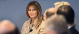 US First Lady Melania Trump visits Federal Emergency Management Agency Headquarters and attends a 2018 Hurricane Briefing in Washington, DC, on June 6, 2018. (Photo by JIM WATSON / AFP) (Photo credit should read JIM WATSON/AFP/Getty Images)