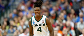 DALLAS, TX - MARCH 15: Lonnie Walker IV #4 of the Miami Hurricanes reacts in the second half while taking on the Loyola Ramblers in the first round of the 2018 NCAA Men's Basketball Tournament at American Airlines Center on March 15, 2018 in Dallas, Texas. (Photo by Ronald Martinez/Getty Images)
