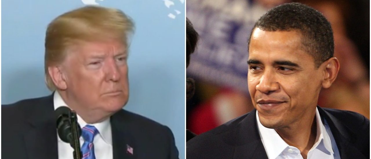 Trump reminds everyone that Obama let Russian aggression go unchecked. Left: Fox News screenshot Right: Photo by Scott Olson/Getty Images