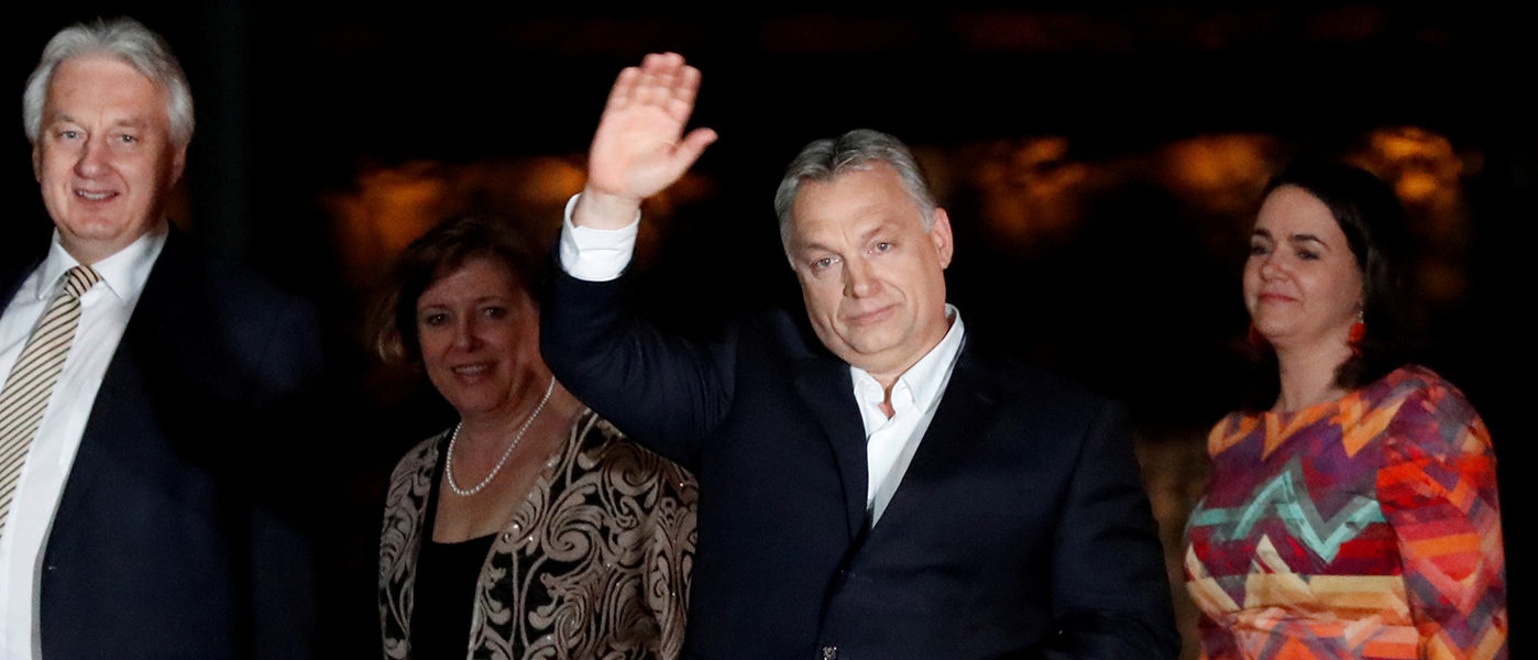 Hungarian Prime Minister Viktor Orban addresses the supporters after the announcement of the partial results of parliamentary election in Budapest, Hungary, April 8, 2018. REUTERS/Bernadett Szabo