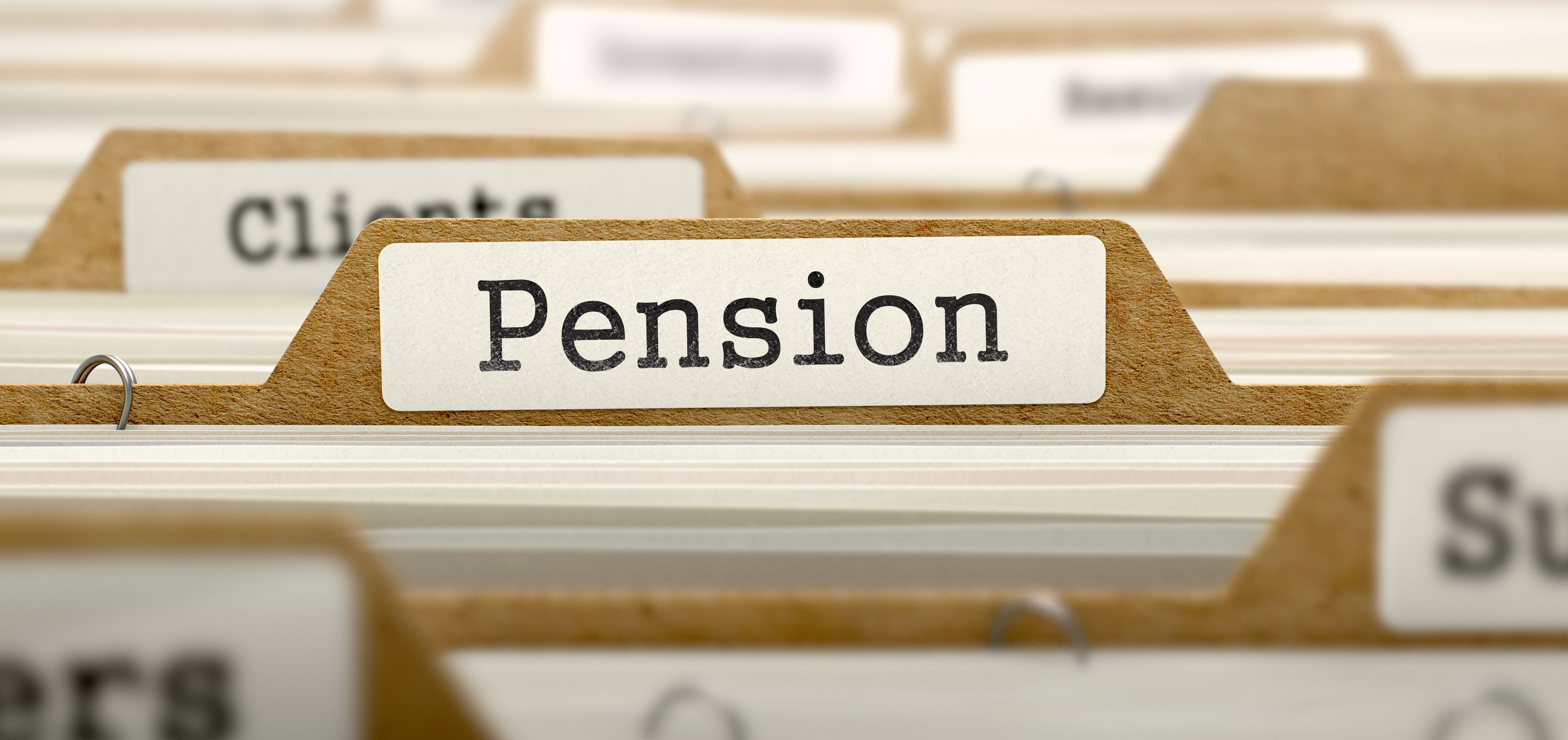 """Picture of a folder with """"pension"""" written on it. (Shutterstock/ESB Professional)"""