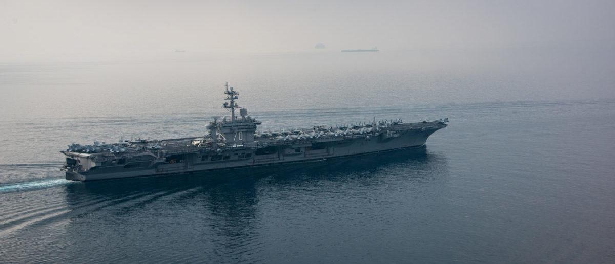 The aircraft carrier USS Carl Vinson (CVN 70) transits the Sunda Strait April 15, 2017. Picture taken April 15, 2017. U.S. Navy Photo by Mass Communication Specialist 2nd Class Sean M. Castellano/Handout via REUTERS