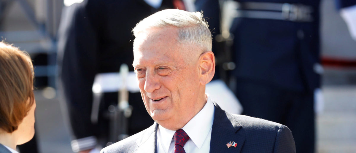 U.S. Defense Secretary James Mattis shakes hands with Florence Parly, France's minister of the Armed Forces, before their meeting at the Pentagon in Arlington, Virginia, U.S., October 20, 2017. REUTERS/Yuri Gripas