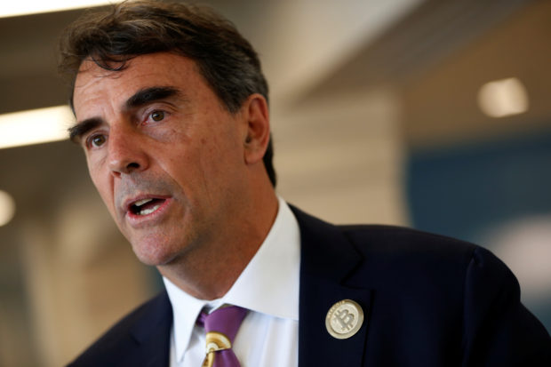 Venture capitalist and CAL 3 Chairman Tim Draper speaks during a press conference after announcing he has collected more than 600,000 signatures to put the plan to partition California into three states into the November ballot in San Mateo, California, April 12, 2018. REUTERS/ Stephen Lam