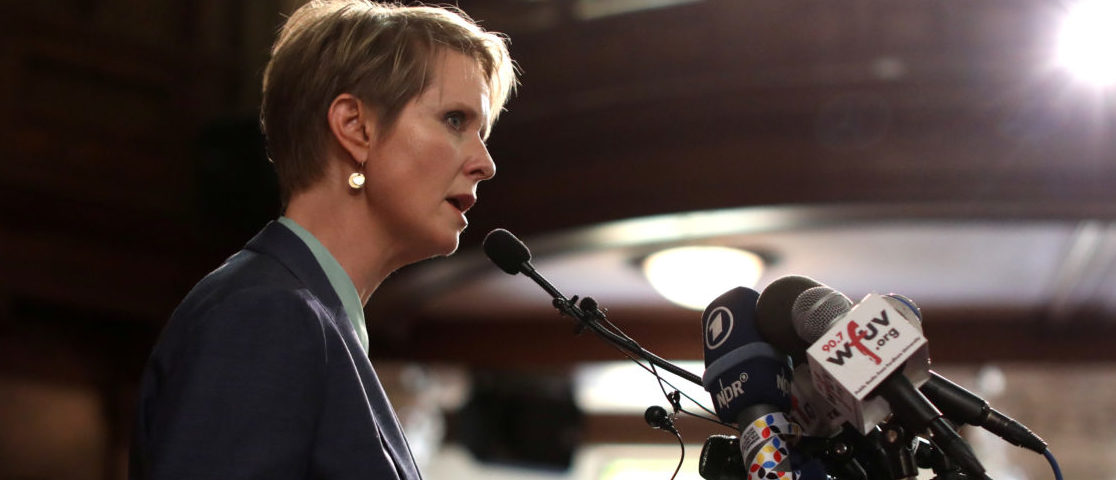 Democratic candidate for NY Governor Cynthia Nixon speaks at a news conference where Debora Berenice Vazquez-Barrios, originally from Guatemala, and her family are taking physical sanctuary from deportation at the St. Paul and St. Andrew United Methodist Church in Manhattan in New York City, New York, U.S., June 21, 2018. REUTERS/Mike Segar - RC1D75658650
