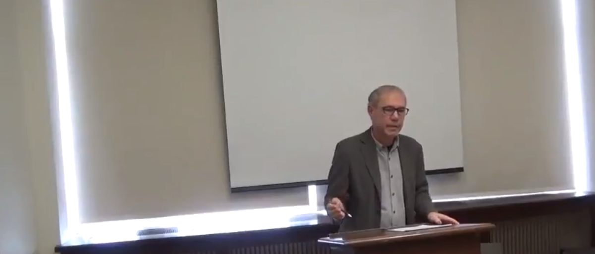 "Rutgers University professor James Livingston gives a presentation titled ""F**k Work."" (Photo Credit: YouTube/boundary 2 journal)"