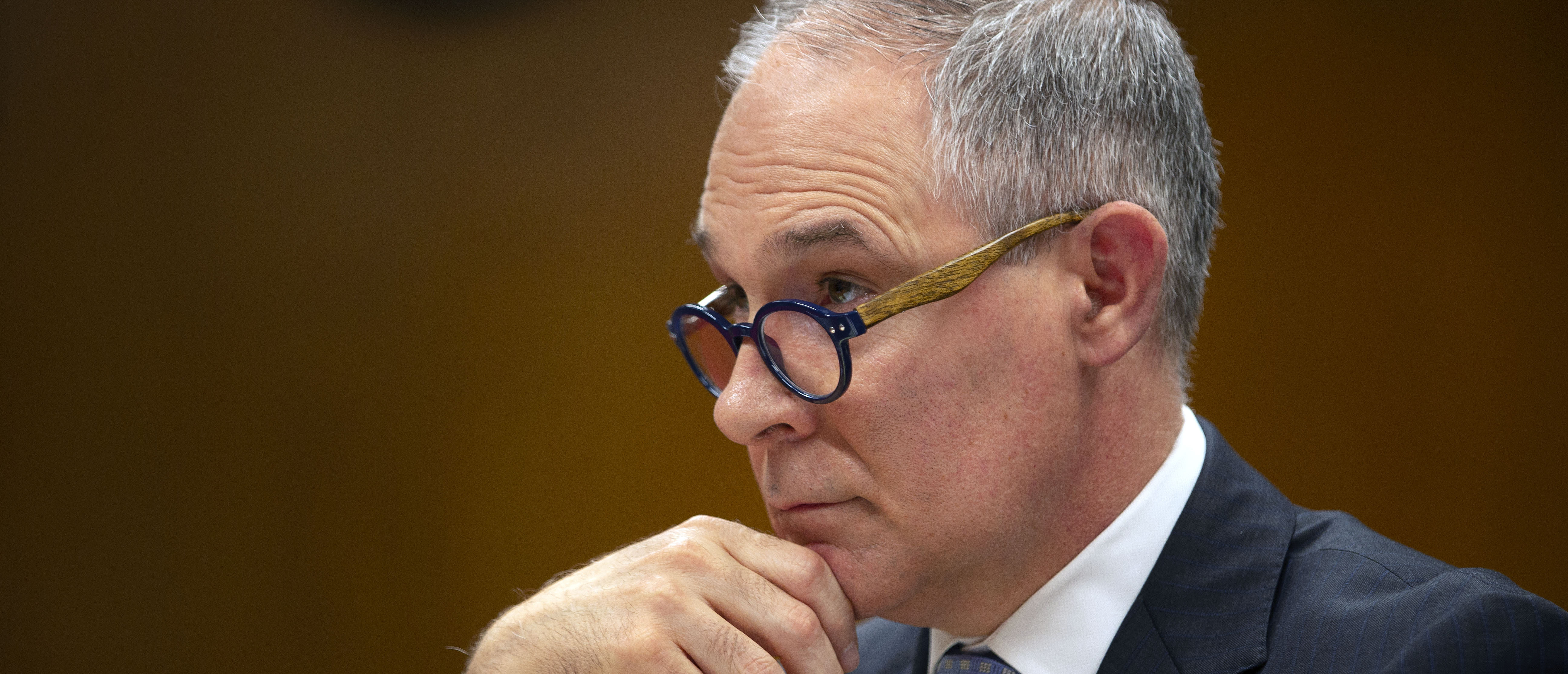 EPA Administrator Scott Pruitt testifies before a Senate Appropriations Interior, Environment, and Related Agencies Subcommittee hearing on the proposed budget estimates and justification for FY2019 for the Environmental Protection Agency on Capitol Hill in Washington, U.S., May 16, 2018. REUTERS/Al Drago - HP1EE5G18KD3U