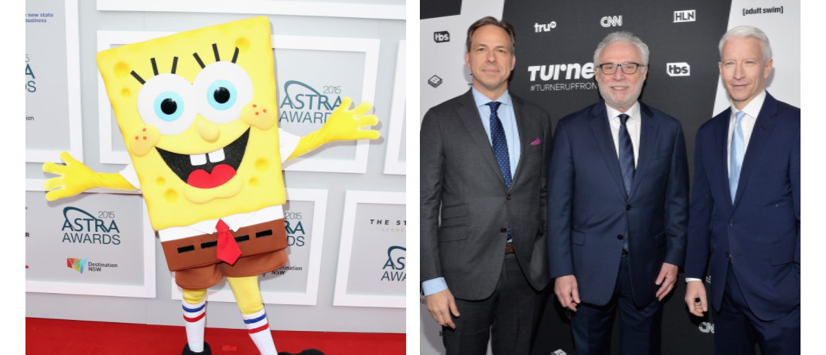 Spongebob Squarepants, Wolf Blitzer, Jake Tapper, and Anderson Cooper of CNN (Getty/Reuters Images)