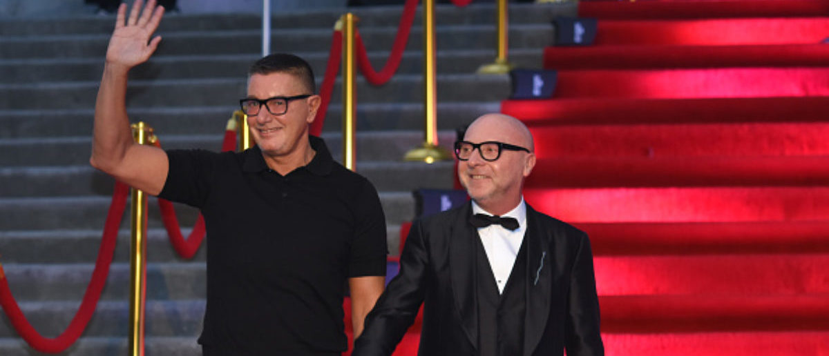 MEXICO CITY, MEXICO - APRIL 18: Fashion designers Stefano Gabbana and Domenico Dolce gesture prior the Dolce & Gabbana Alta Moda and Alta Sartoria collections fashion show at Soumaya Museum on April 18, 2018 in Mexico City, Mexico. (Photo by Carlos Tischler/Getty Images)