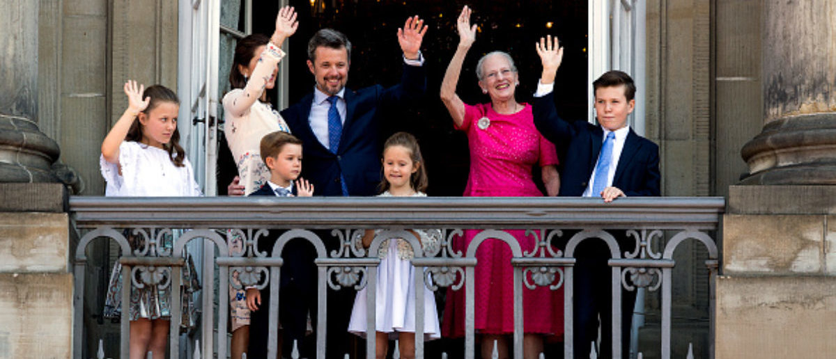 COPENHAGEN, DENMARK - MAY 26: Crown Prince Frederik of Denmark (L-3rd) with his family waves ro rhe people on the Amalienborg Palace square on the occasion of his 50th birthday on May 26, 2018 in Copenhagen, Denmark. Later during the evening the Crown Prince host a Gala Banquet at Christiansborg (Photo by Ole Jensen/Getty Images)