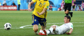 NIZHNIY NOVGOROD, RUSSIA - JUNE 18: Kim Min-Woo of Korea Republic fouls Viktor Claesson of Sweden inside the box, leading to a VAR decision penalty during the 2018 FIFA World Cup Russia group F match between Sweden and Korea Republic at Nizhniy Novgorod Stadium on June 18, 2018 in Nizhniy Novgorod, Russia. (Photo by Jan Kruger/Getty Images)