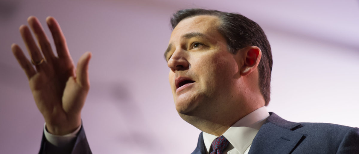 NATIONAL HARBOR, MD - MARCH 6, 2014: Senator Ted Cruz (R-TX) speaks at the Conservative Political Action Conference (CPAC). Shutterstock/Christopher Halloran