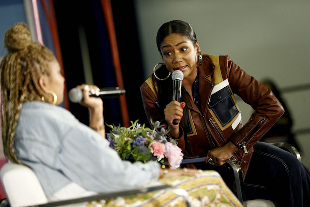 """NEW YORK, NY - JUNE 10: Amanda Seales and Tiffany Haddish speak onstage during the 'The Last Laugh"""" panel day 2 of POPSUGAR Play/Ground on June 10, 2018 in New York City. (Photo by Brian Ach/Getty Images for POPSUGAR Play/Ground)"""