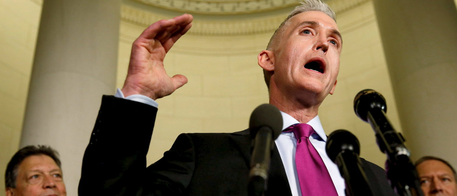 Rep. Trey Gowdy (C), flanked by committee members, speaks to reporters after questioning Democratic presidential candidate Hillary Clinton in a day-long testimony before the House Select Committee on Benghazi, on Capitol Hill in Washington Oct. 22, 2015. REUTERS/Jonathan Ernst