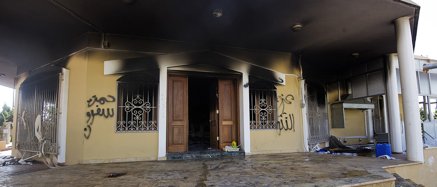 A picture shows a burnt building at the US consulate compound in the eastern Libyan city of Benghazi on September 13, 2012 following an attack late on September 11 in which the US ambassador to Libya and three other US nationals were killed. Libya said it has made arrests and opened a probe into the attack, amid speculation that Al-Qaeda rather than a frenzied mob was to blame. GIANLUIGI GUERCIA/AFP/GettyImages