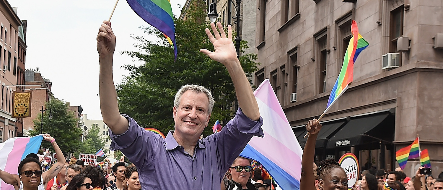 NYC Mayor Bill de Blasio and First Lady Chirlane McCray attend the 2018 New York City Pride March on June 24, 2018 in New York City. (Photo by Theo Wargo/Getty Images)