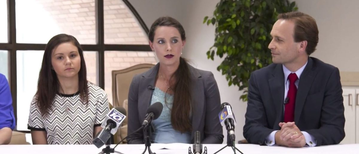 L to R: Kaylee Lorincz, Rachael Denhollander and Brian Calley in an ad for his campaign for Michigan governor. //YouTube screenshot