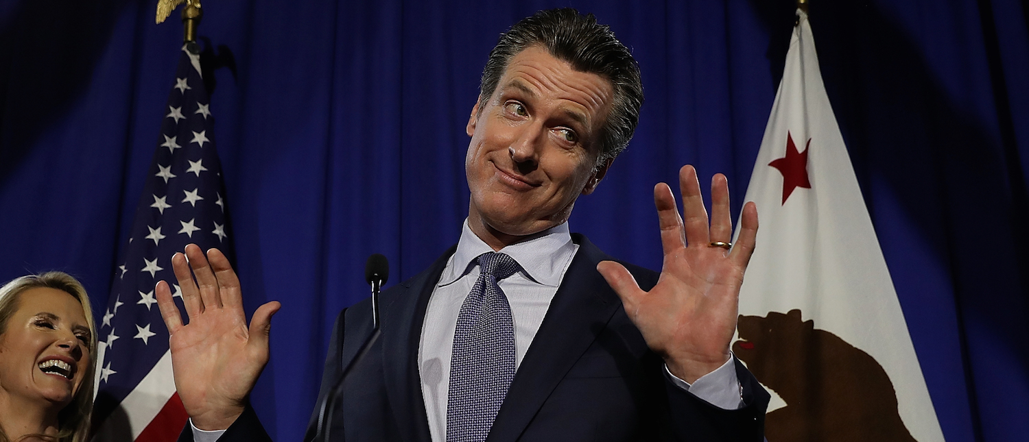 Democratic California gubernatorial candidate Lt. Gov. Gavin Newsom speaks during his primary election night gathering on June 5, 2018 in San Francisco, California. (Photo: Justin Sullivan/Getty Images)