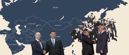 Shanghai Summit vs. North Korea-U.S. Summit, Shutterstock and Retuers/ Photos by Tom Wang, okili77, Jonathan Ernst, and Sputnik Photo Agency