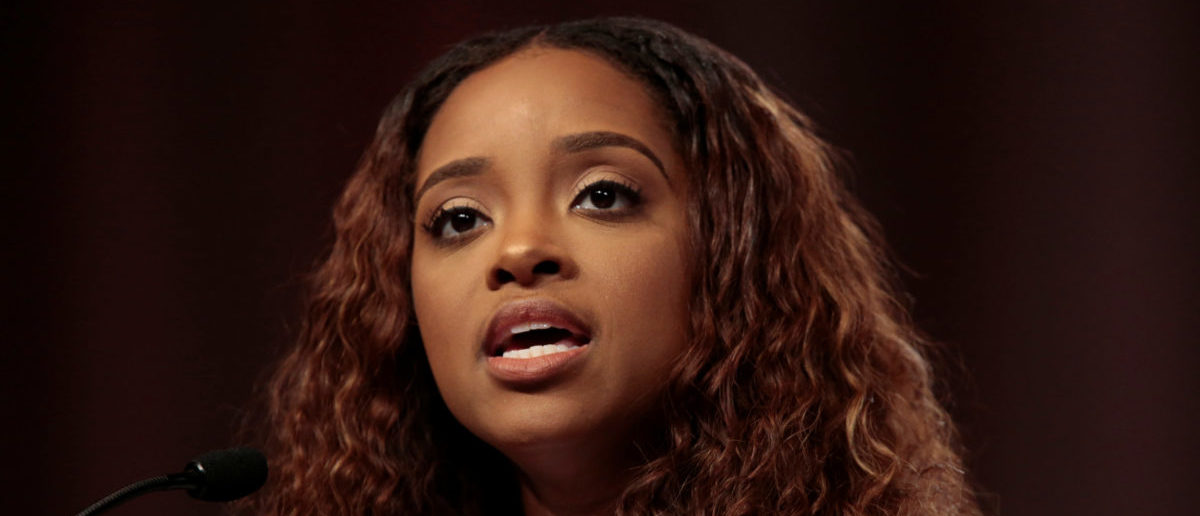 Tamika Mallory, National Co-Chair, Women's March, addresses the audience during the opening session of the three-day Women's Convention at Cobo Center in Detroit, Michigan, U.S., October 27, 2017. REUTERS/Rebecca Cook