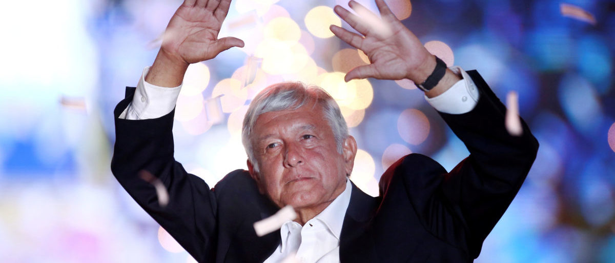 Mexican presidential candidate Andres Manuel Lopez Obrador waves to supporters during his closing campaign rally at the Azteca stadium, in Mexico City, Mexico June 27, 2018. REUTERS/Edgard Garrido