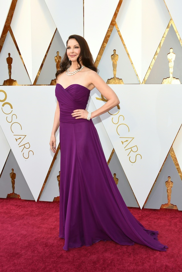 Ashley Judd arrives for the 90th Annual Academy Awards on March 4, 2018, in Hollywood, California. (Photo credit: VALERIE MACON/AFP/Getty Images)