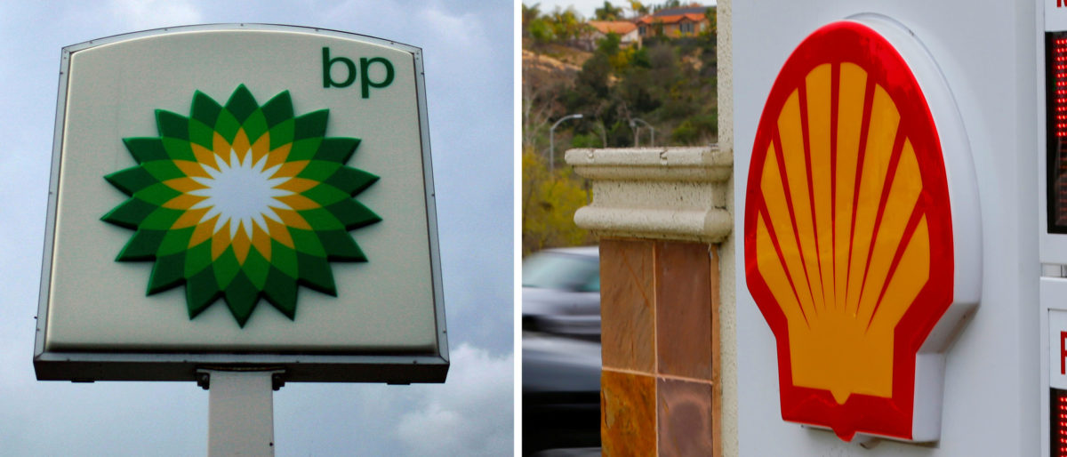 FILE PHOTO - A combination of file photos shows the logos of five of the largest publicly traded oil companies; BP, Chevron, Exxon Mobil, Royal Dutch Shell, and Total. REUTERS/File Photo - RC14B212D510