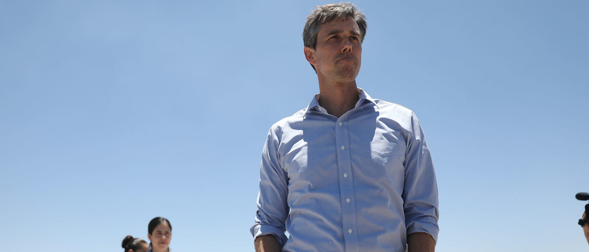 """TORNILLO, Texas -- JUNE 23: Rep. Beto O'Rourke (D-TX) arrives for a tour with other politicans of the tent encampment recently built near the Tornillo-Guadalupe Port of Entry on June 23, 2018 in Tornillo, Texas. A tent facility was recently built next to the Tornillo-Guadalupe port of entry to house immigrant children separated from their parents after they were caught entering the U.S. under the administration's """"zero tolerance policy. (Photo by Joe Raedle/Getty Images)"""