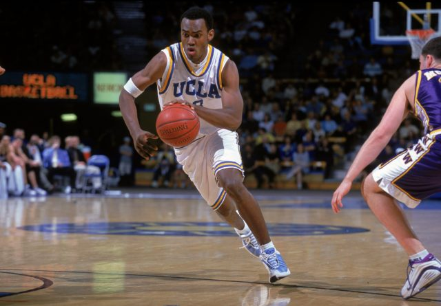 11 Mar 2000: Billy Knight #3 of the UCLA Bruins dribbles the ball down court during a game against the Washington Huskies at the Pauley Pavilion in Westwood, California The Bruins defeated the Huskies 90-64. (Mandatory Credit: Jeff Gross /Allsport/ Getty Images)