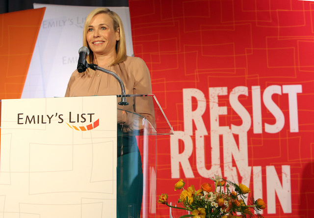 """Chelsea Handler speaks onstage at EMILY's List's """"Resist, Run, Win"""" Pre-Oscars Brunch on February 27, 2018 in Los Angeles, California. (Photo by Rachel Murray/Getty Images for EMILY's List)"""