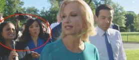 Reporters Surround Kellyanne Conway To Ask If Trump Will 'Denounce' Putin