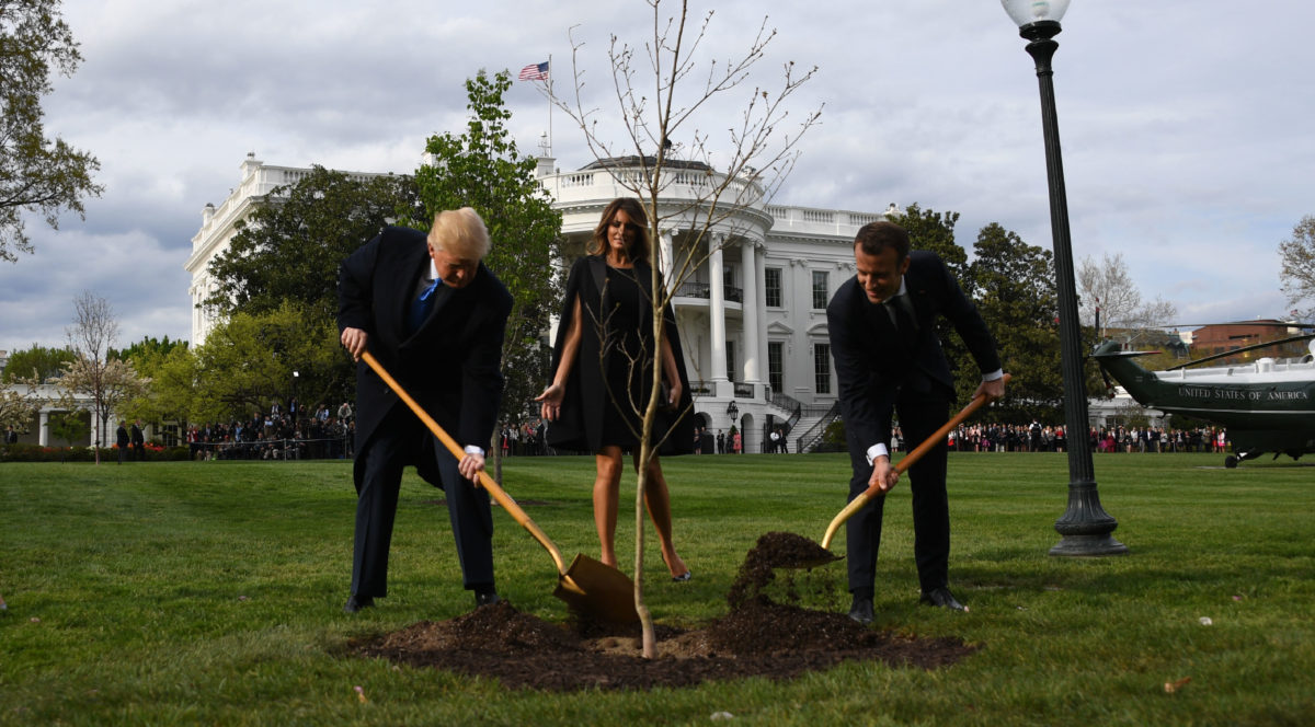 US President Donald Trump and First Lady Melania Trump participate in a tree planting ceremony with French President Emmanuel Macron and his wife Brigitte Macron on the South Lawn of the White House in Washington, DC, on April 23, 2018. - The tree comes from Belleau Woods, where, in June 1918, some 9,000 US Marines died in the Belleau Wood battle during World War I. (Photo by JIM WATSON / AFP) (Photo credit should read JIM WATSON/AFP/Getty Images)