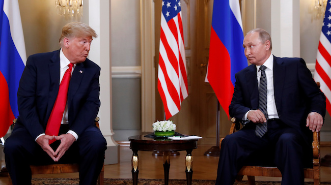 President Donald Trump meets with Russian President Vladimir Putin in Helsinki, Finland, July 16, 2018. REUTERS/Kevin Lamarque